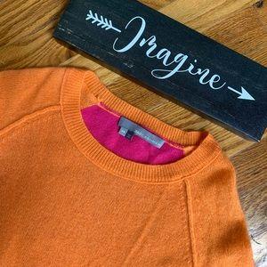 360 Cashmere orange pink color block sweater